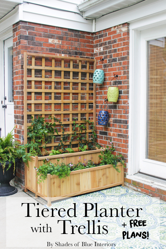 Tiered Planter With Trellis Shades Of Blue Interiors