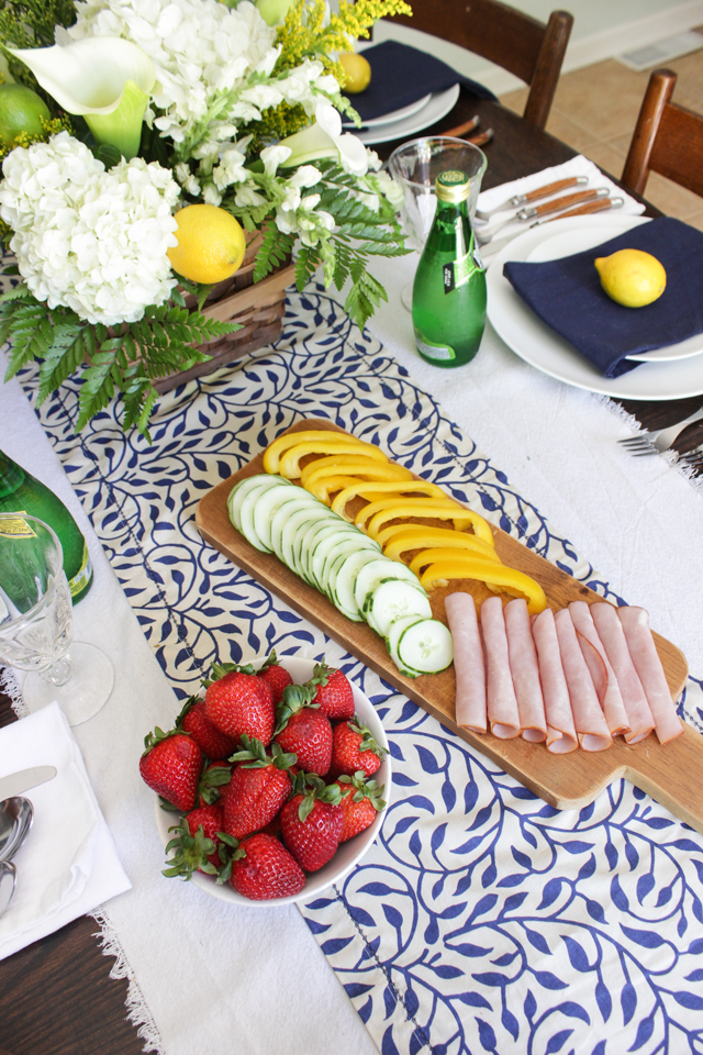 Summer snacks on a navy and white tablescape