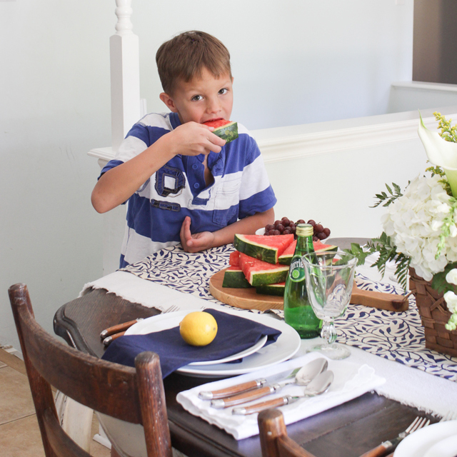 Watermelon eating on summer tablescape