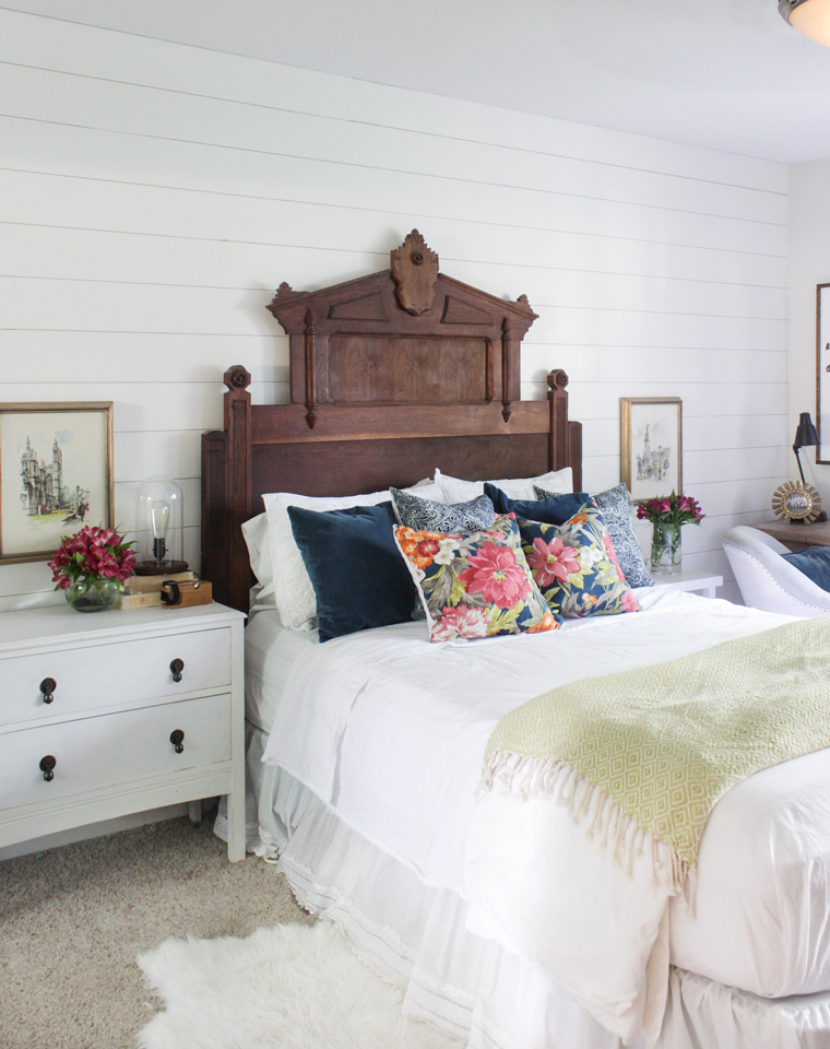 Eastlake headboard with floral pillows