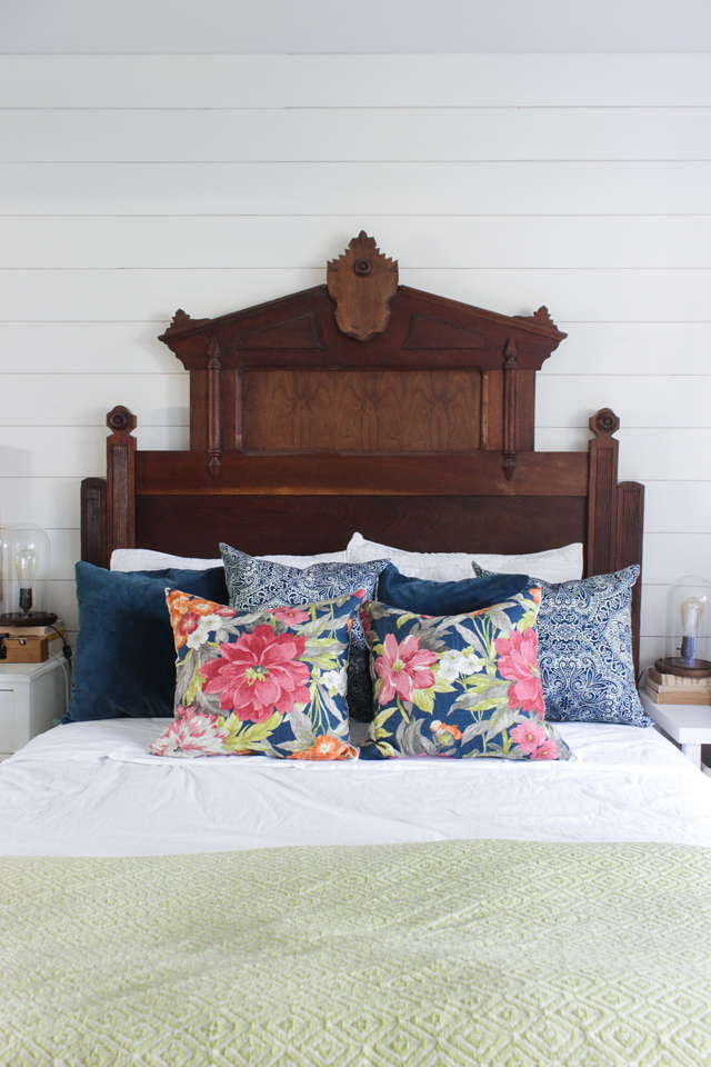 Eastlake headboard with floral pillows for summer