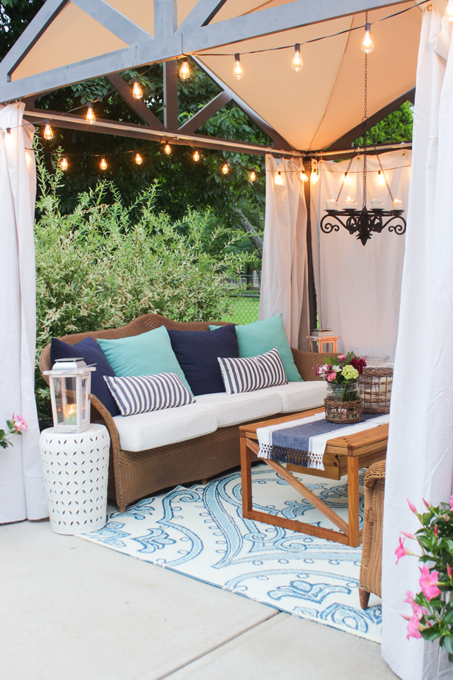 Pergola seating area with coffee table