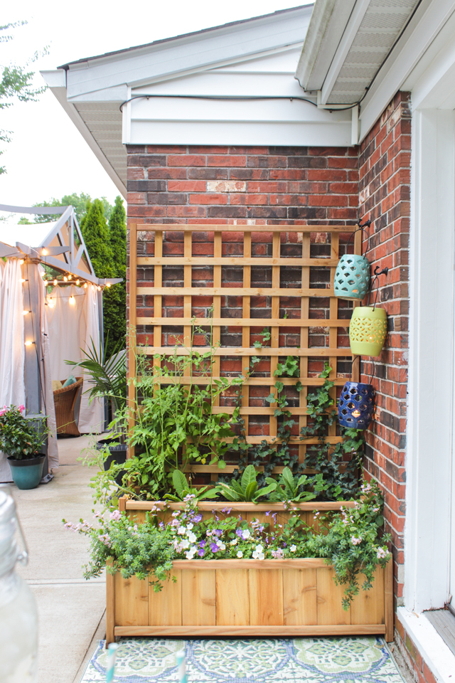 Cedar tiered planter with trellis
