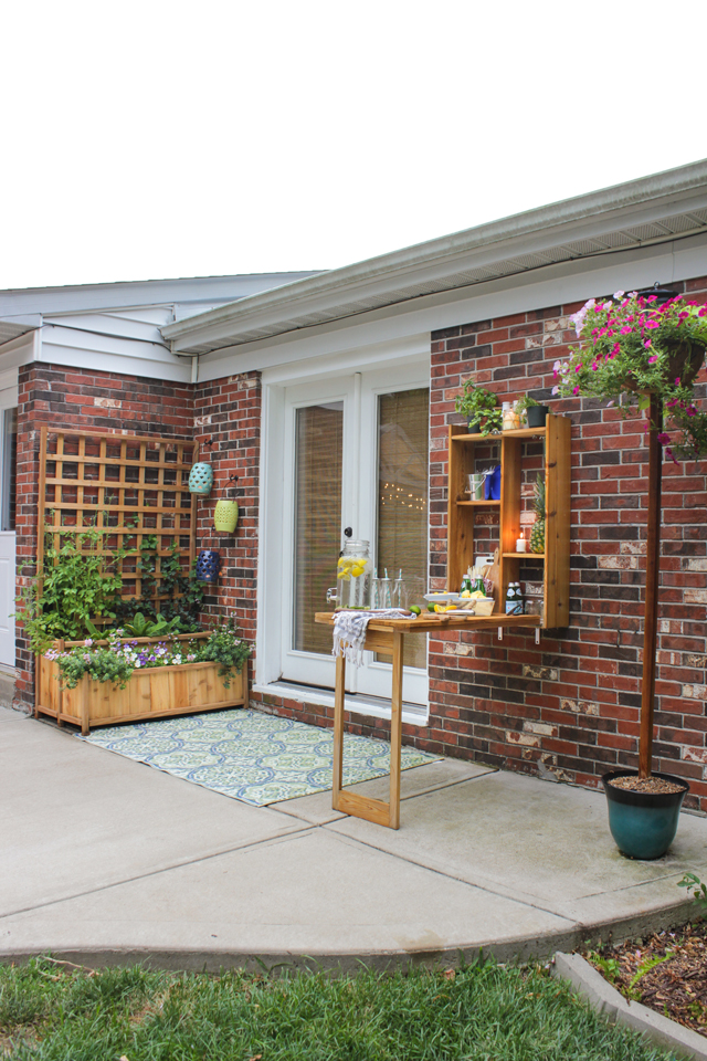 Outdoor murphy bar and planter with trellis