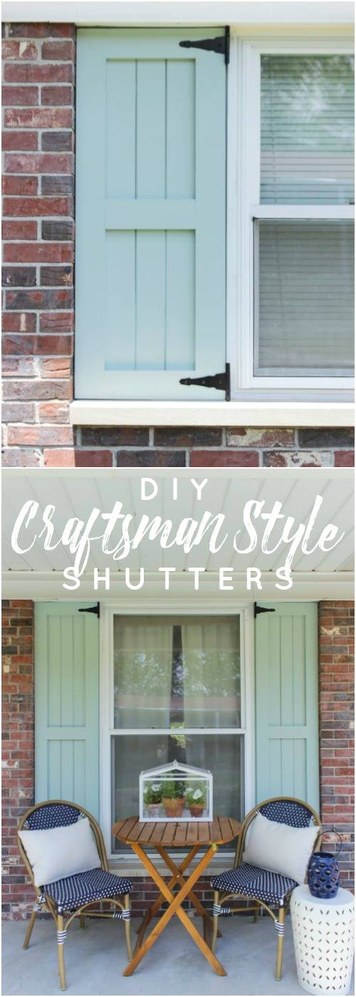 Diy craftsman style outdoor shutters shades of blue for Mission style shutters