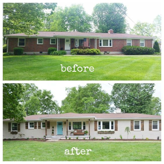 Home exterior makeover plans shades of blue interiors for Small brick ranch homes