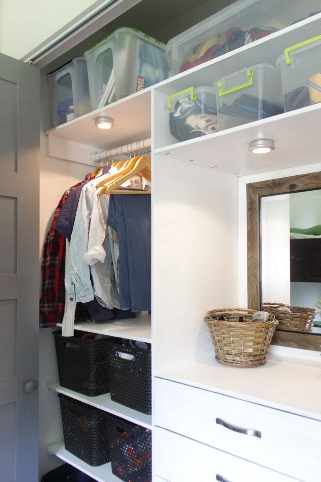 Closet makeover with 6 drawer organization system