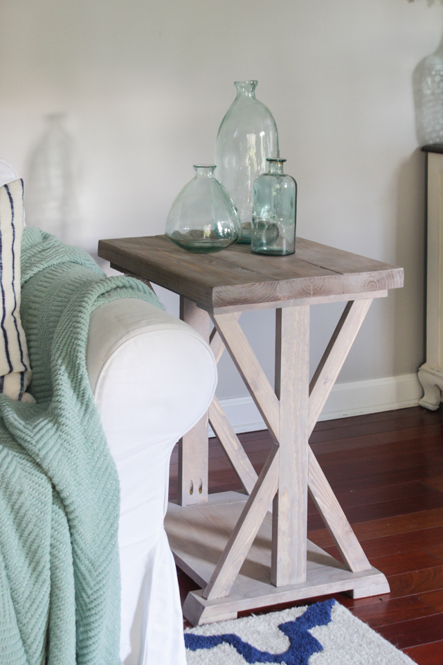 Farmhouse X End Table with light gray stained finish