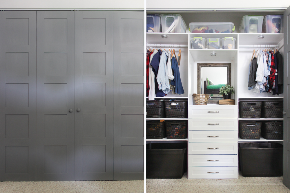 Closet makeover with 6 drawer organization system and bifold 5 panel doors