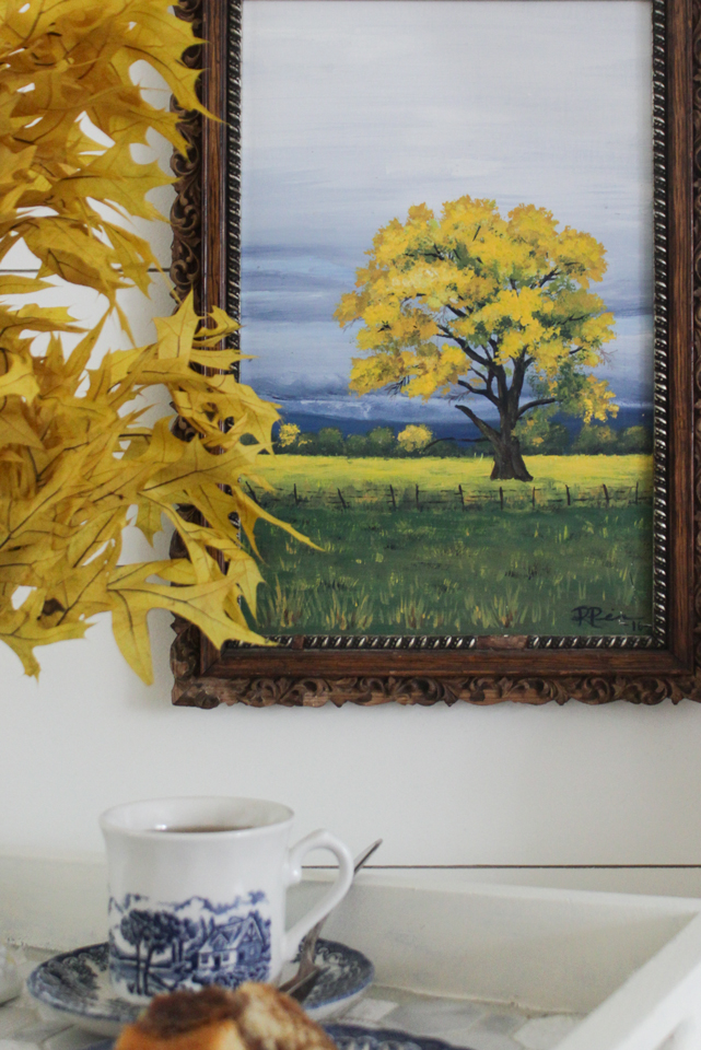 A fall painting of an autumn storm - yellow, blue and green