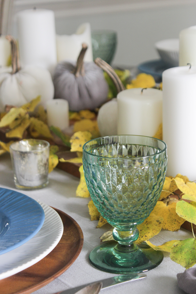 Green goblet in fall tablescape