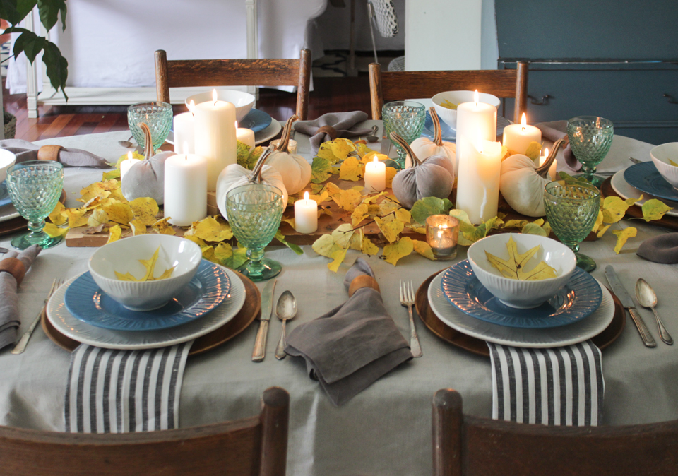 Fall Tablescape with green, blue, gray, yellow, and white