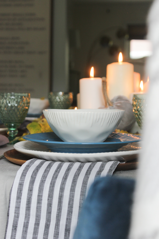 """Textured bowl by Pfaltzgraff """"Birch"""" and Striped Napkin by Alexandra Ferguson"""