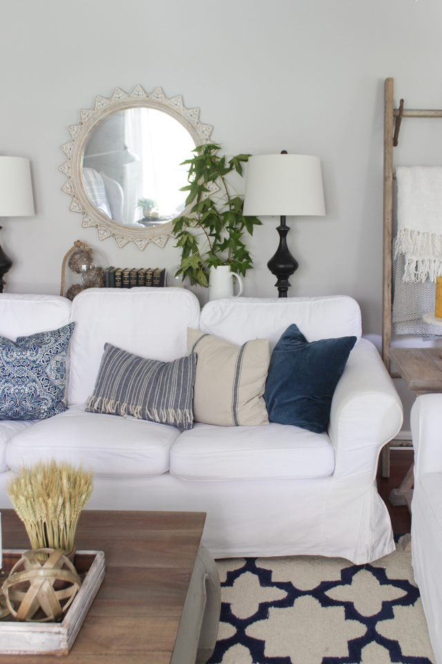 Fall Living room with navy, green, gray, and a pop of yellow
