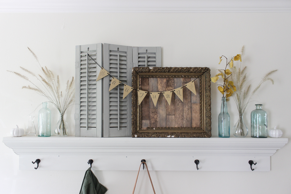 Fall Entry shelf with shutters, wood frame, wheat, and autumn banner
