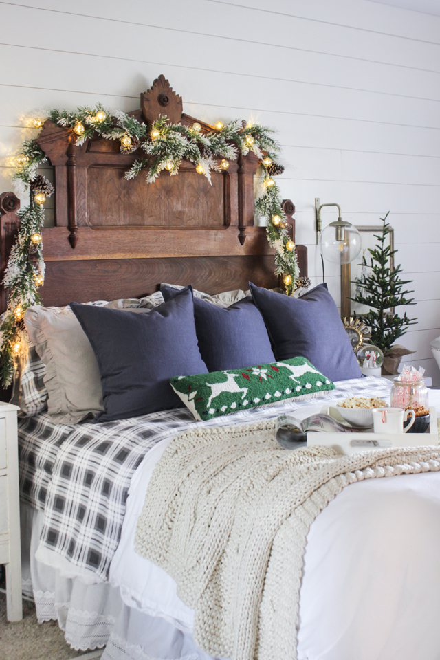 Cozy rustic Christmas bed