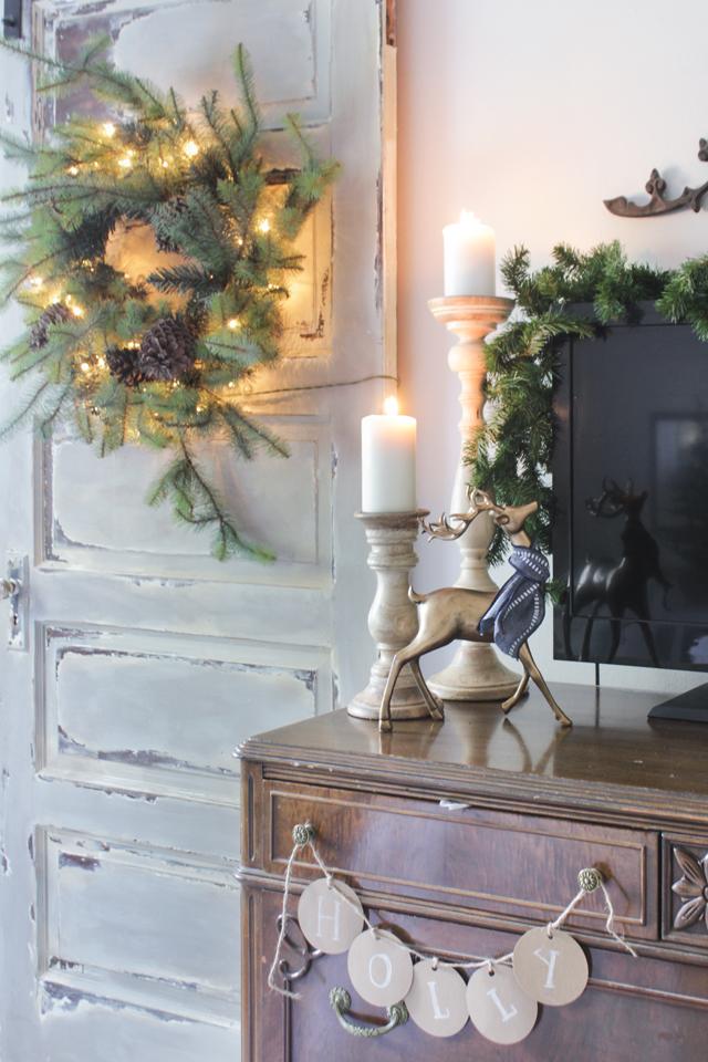Christmas barn door and turned candleholders