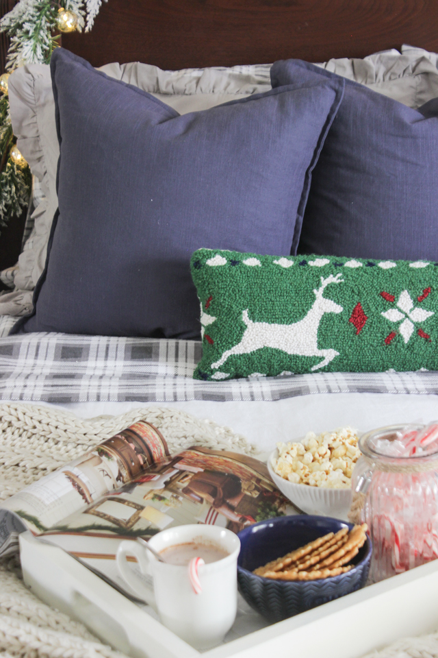 Christmas pillows with hot chocolate bed tray