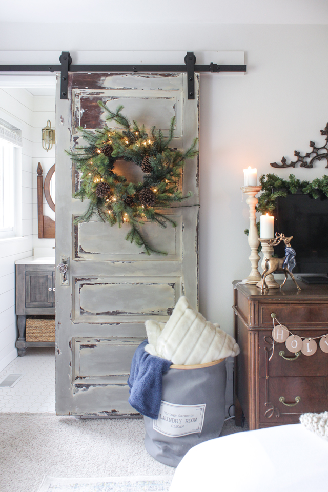 Christmas barn door