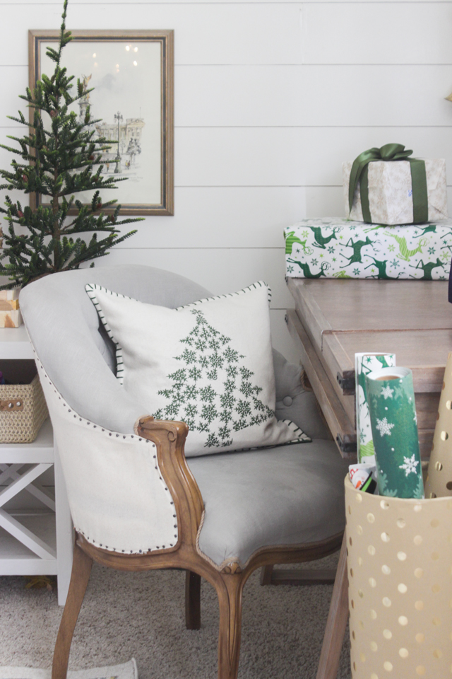 Green and gray- festive gift wrapping station