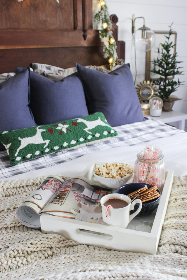 Christmas Bed tray with hot cocoa