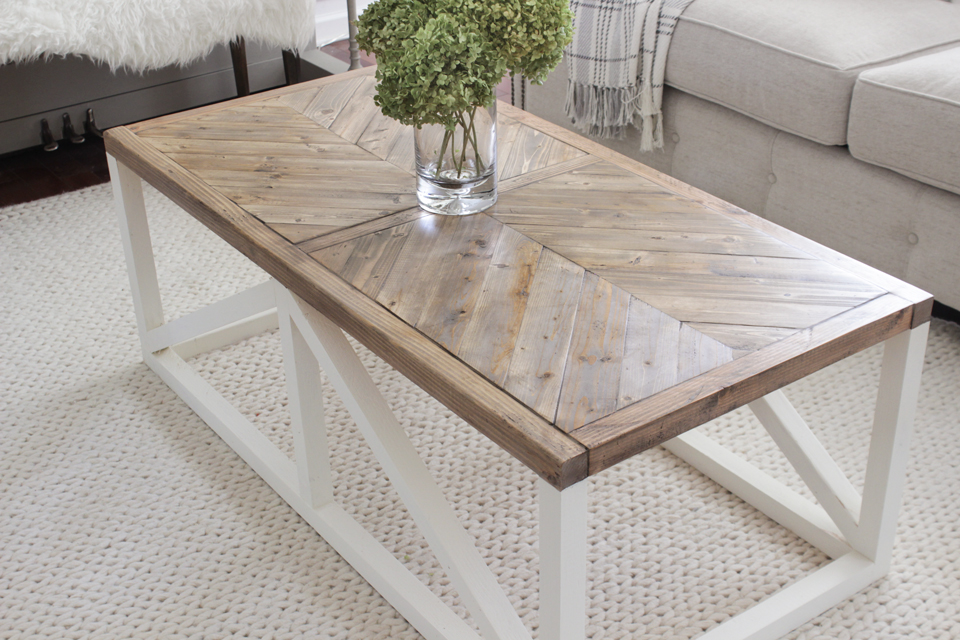 Modern farmhouse herringbone coffee table shades of blue for Modern farmhouse coffee table