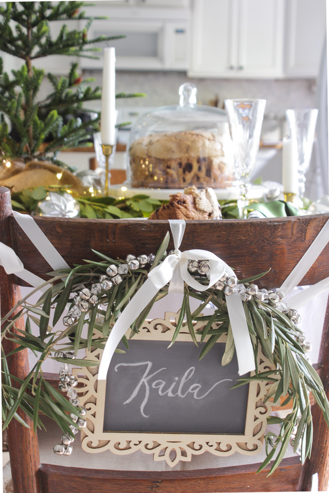 Olive branch chair swag with silver bells - Shades of Blue Interiors