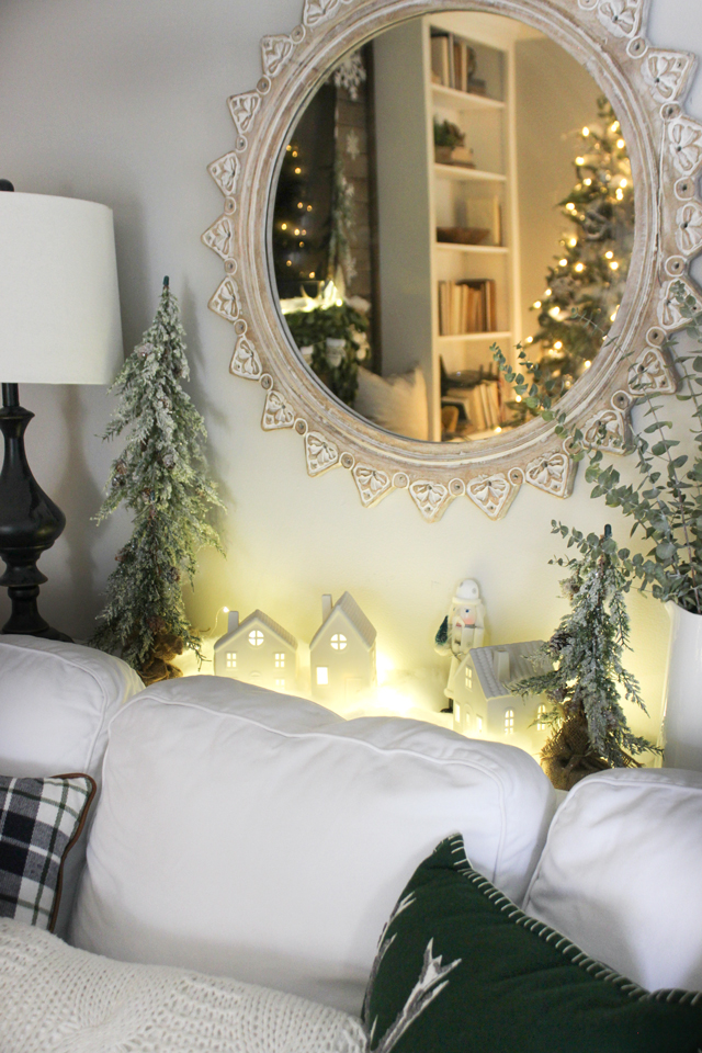 Woodsy, natural, winter wonderland Christmas family room