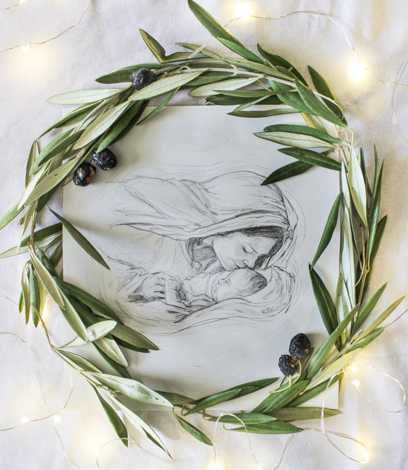 Nativity pencil drawing with olive wreath