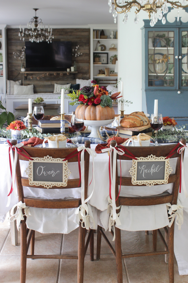 A colorful Thanksgiving Tablescape with DIY name chair signs