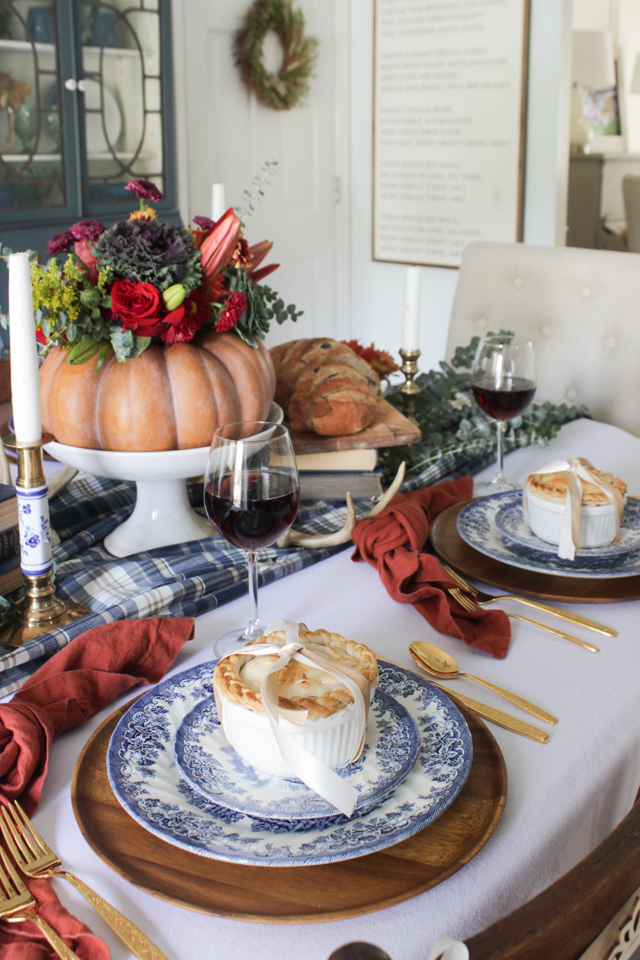 A colorful Thanksgiving Tablescape with individual pies