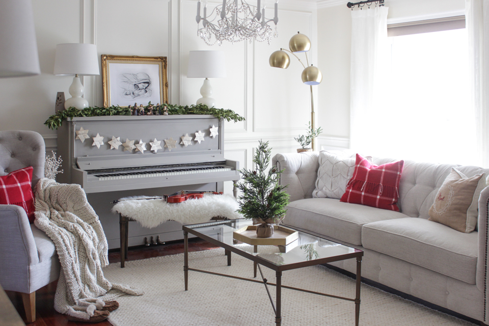 Christmas Formal living room with pops of red