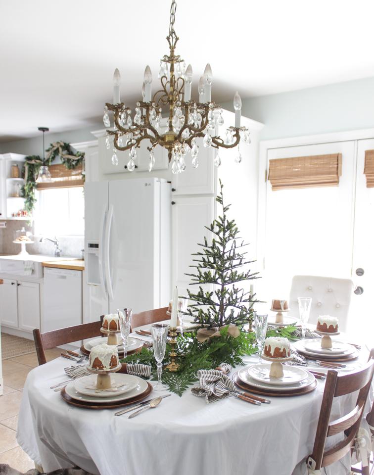 Fresh greens on Christmas dining table