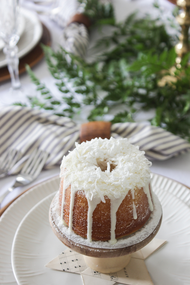 Coconut topped mini cake for Christmas place setting