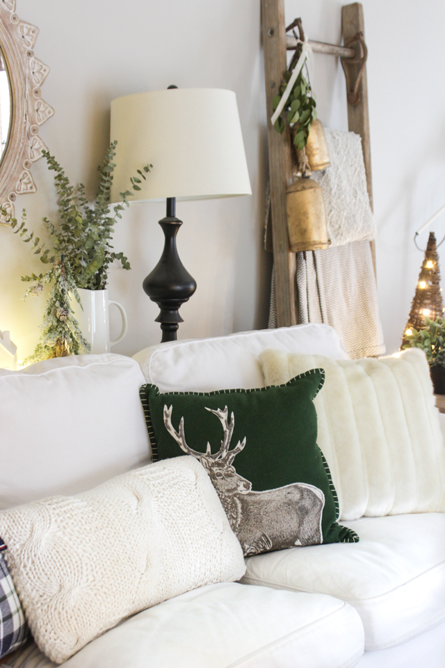 Wintry whites and greens living room