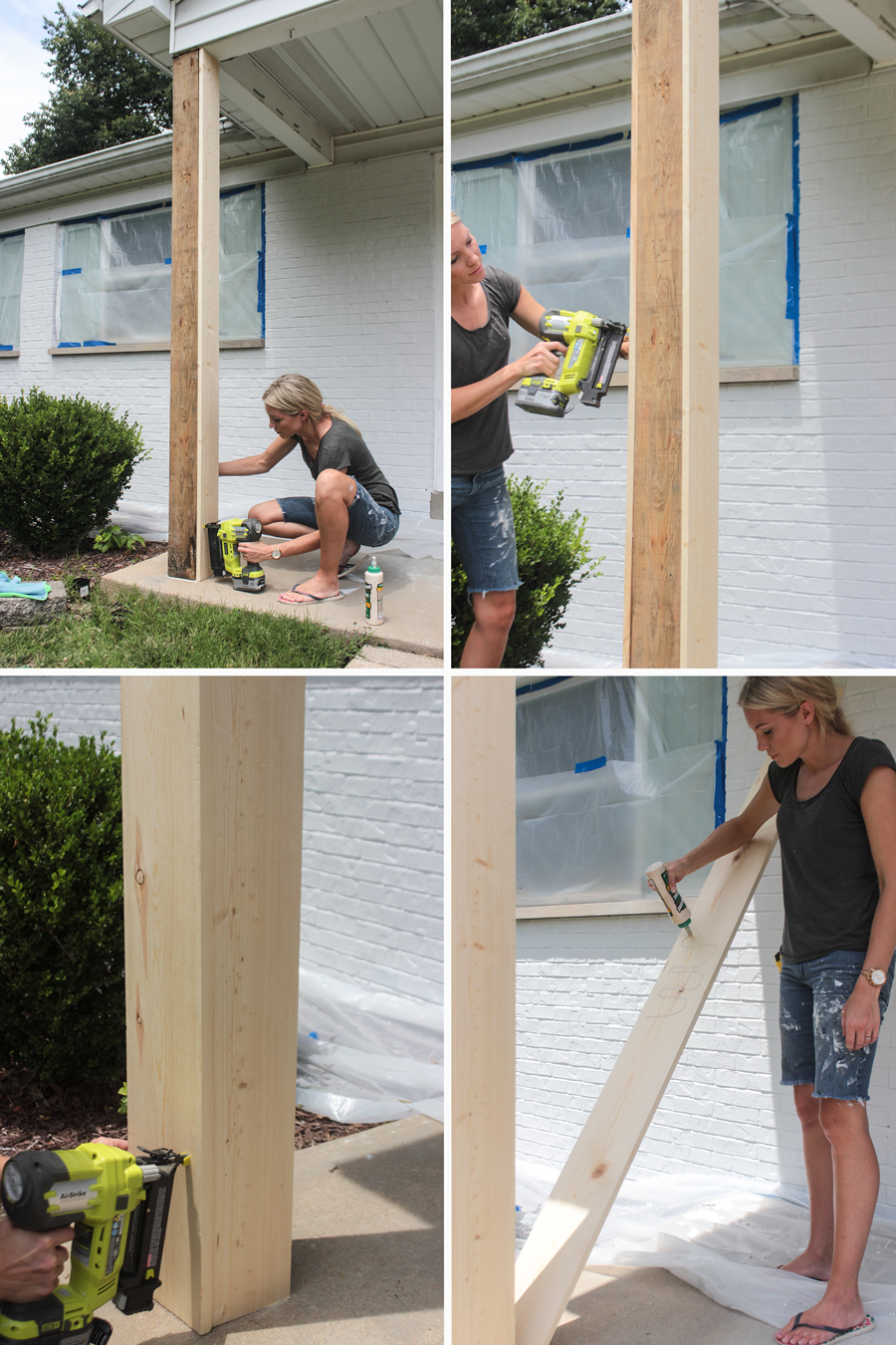 Diy craftsman style porch columns shades of blue interiors for Building a front porch deck