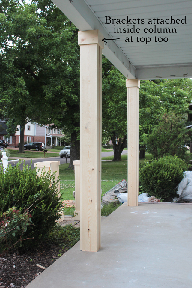 Diy craftsman style porch columns shades of blue interiors finish off the top trim of the column using 1x6s with mitered corners as was done in step 2 solutioingenieria Images