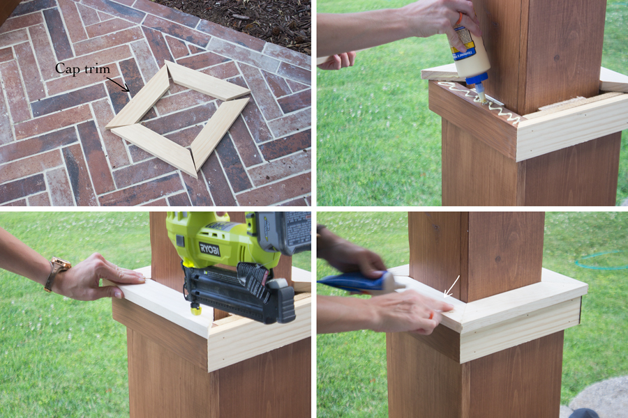 Fill Nail Holes With Wood Filler, Sand And Apply 2 Coats Of Stain To Match  The Rest Of The Columns.