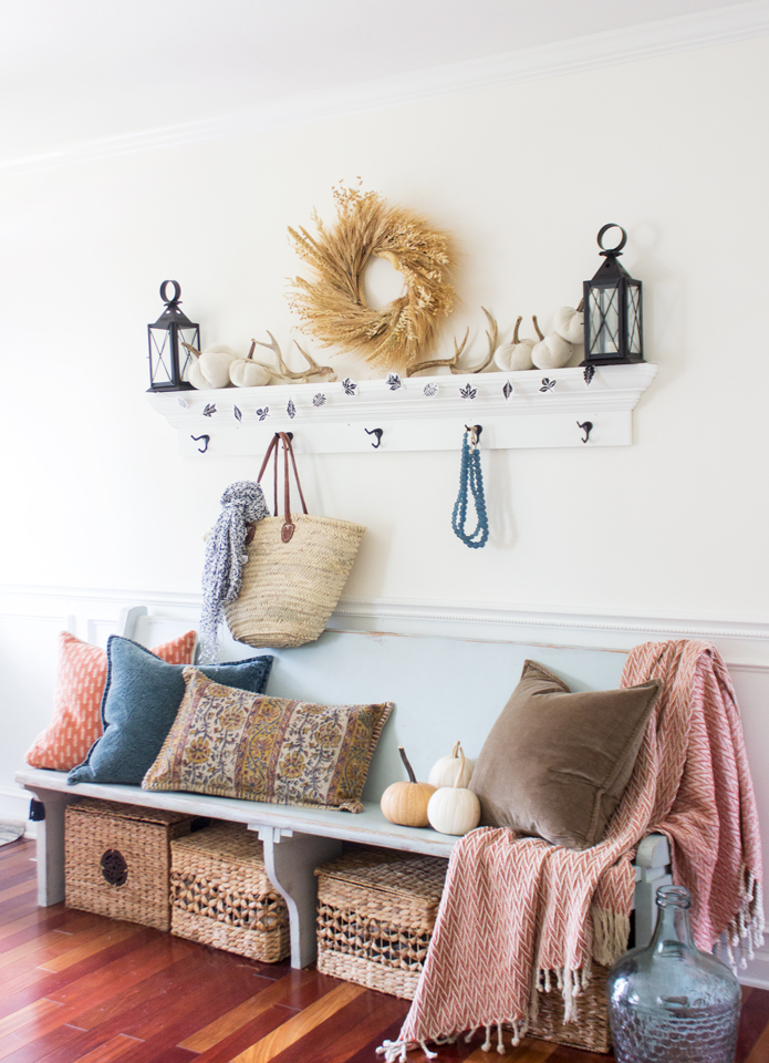 teal and orange fall entry way styling inspiration
