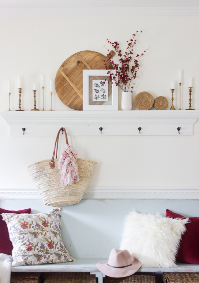 Burgundy and pink fall entry way styling inspiration