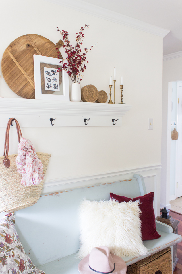 Burgundy fall entry way styling inspiration