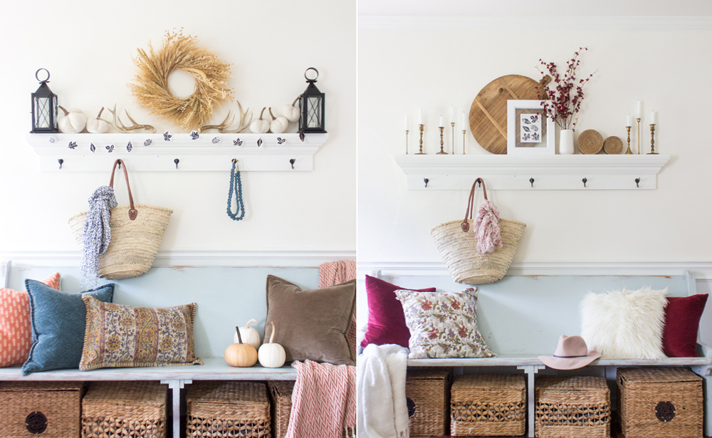 two fall entry way styling options for inspiration
