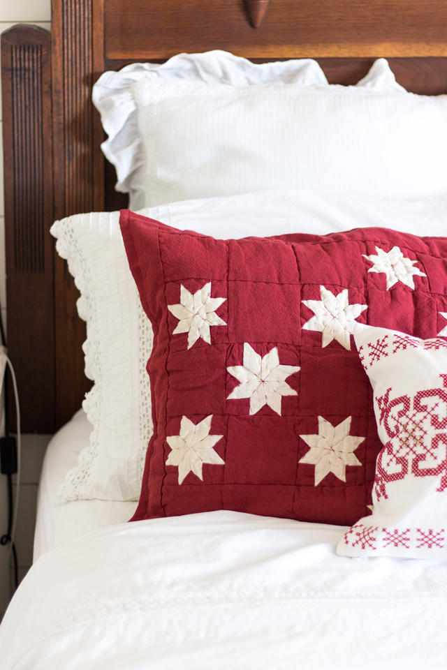 I Have A Down Alternative Comforter And Plain White Quilt On The Bed With This Red Briarwood Folded At Bottom For Nights Where My Husband Might