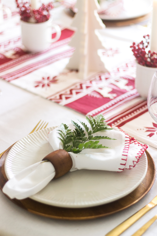 A Simple Red & White Christmas Tablescape - Shades of Blue Interiors