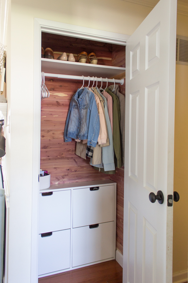 Bon ... Coat Closet Using Cedar Planks And A Shoe Organizer From Ikea. This  Project Was Quite Simple And Only Took Me A Few Hours To Complete, Which  Makes It A ...