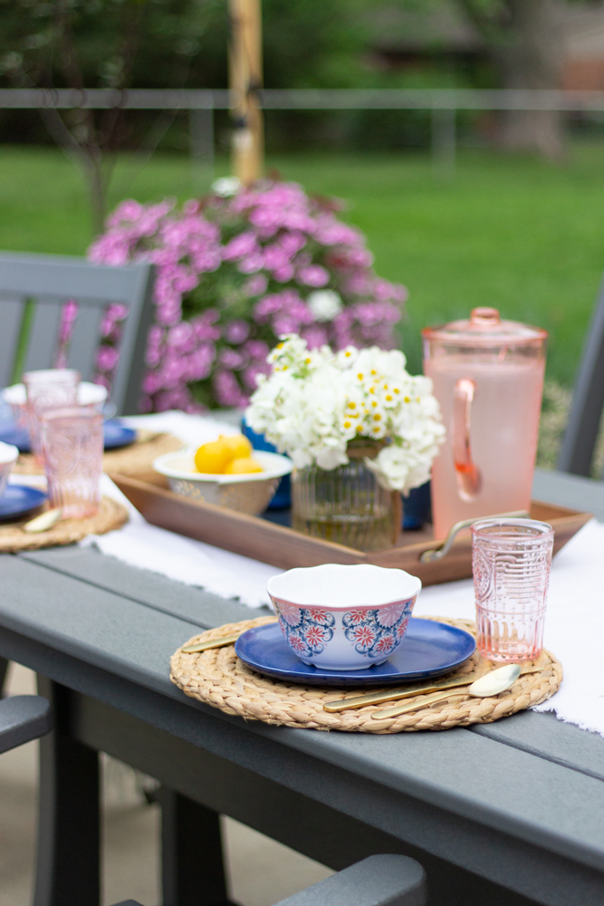 Outdoor place setting with navy and pink