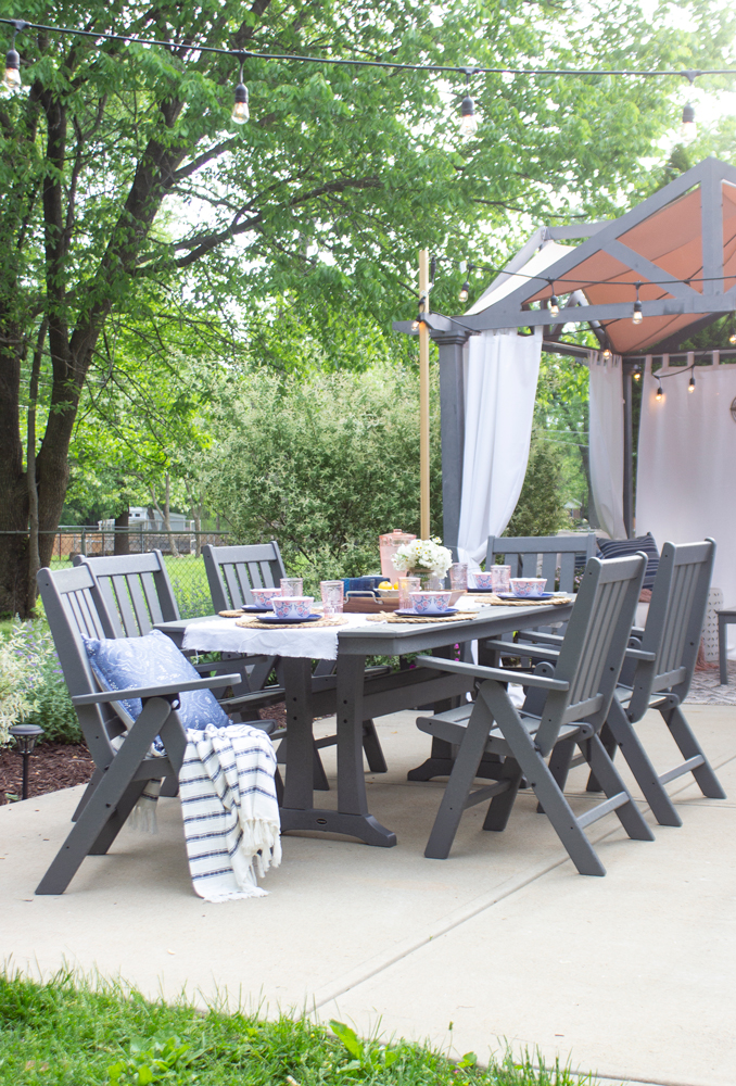 outdoor dining set in slate gray