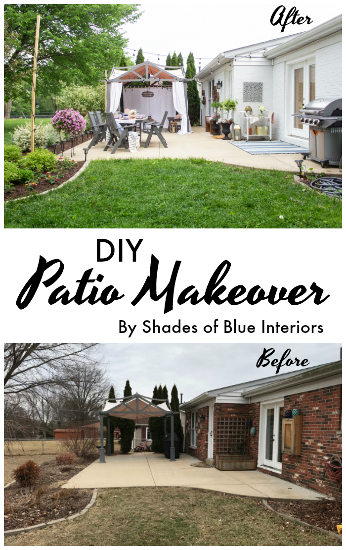 patio makeover with painted brick and gray furniture
