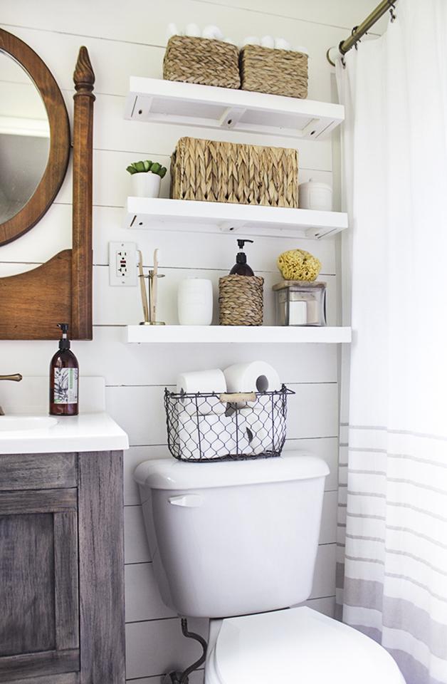 Diy Floating Bathroom Shelves Shades Of Blue Interiors