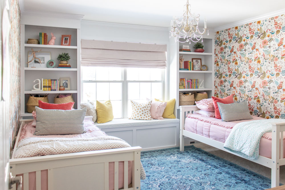 10 Inspiring Shared Room Layouts For Girls The Perfect Bedding For All Of Them Shades Of Blue Interiors